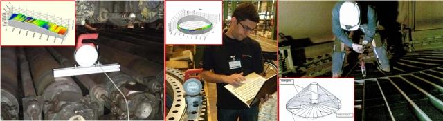 De izquierda a derecha, INCLINEO en distintas tareas: intercambiador de calor en plantas carboníferas, medición de bordes e industria del acero.